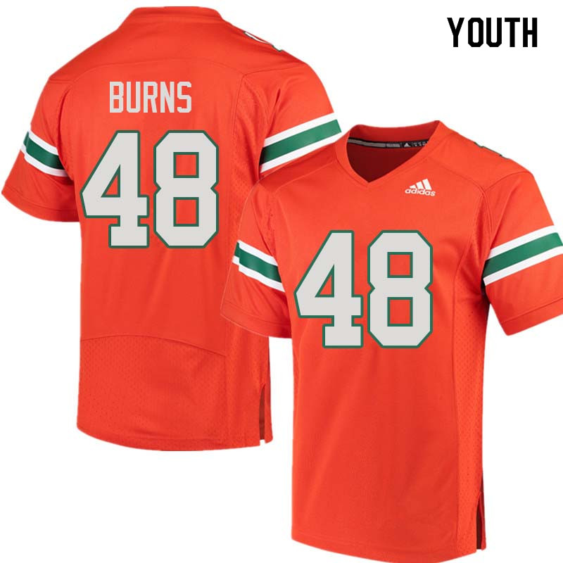 Youth Miami Hurricanes #48 Thomas Burns College Football Jerseys Sale-Orange