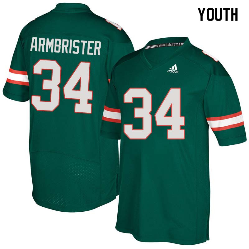 Youth Miami Hurricanes #34 Thurston Armbrister College Football Jerseys Sale-Green