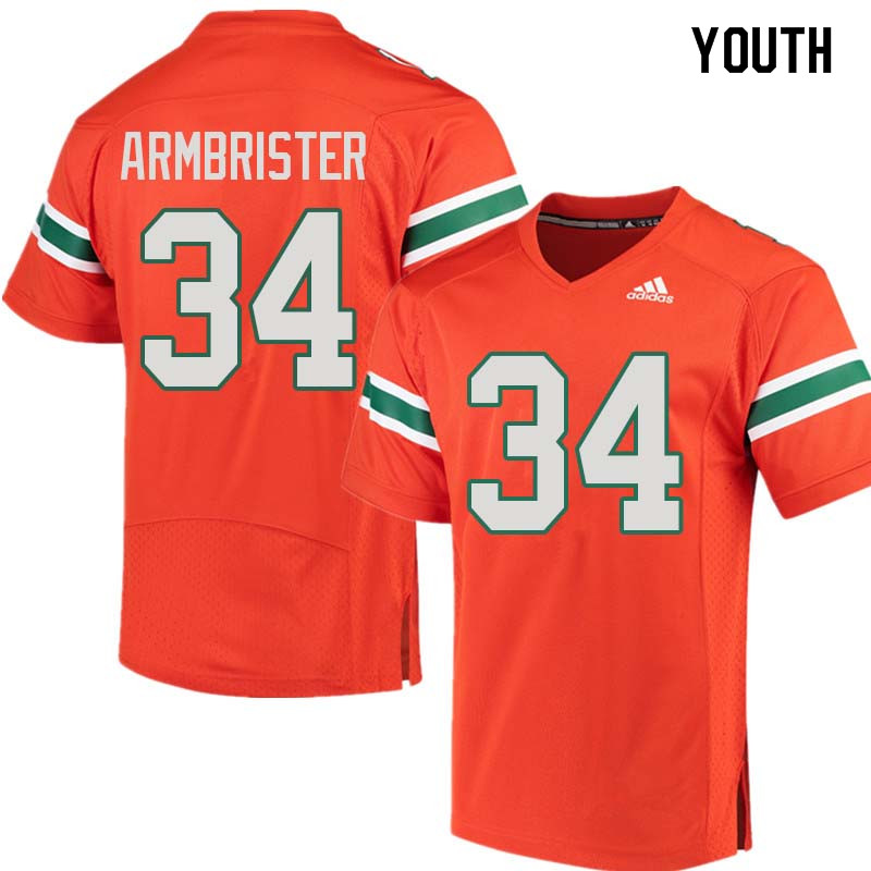 Youth Miami Hurricanes #34 Thurston Armbrister College Football Jerseys Sale-Orange