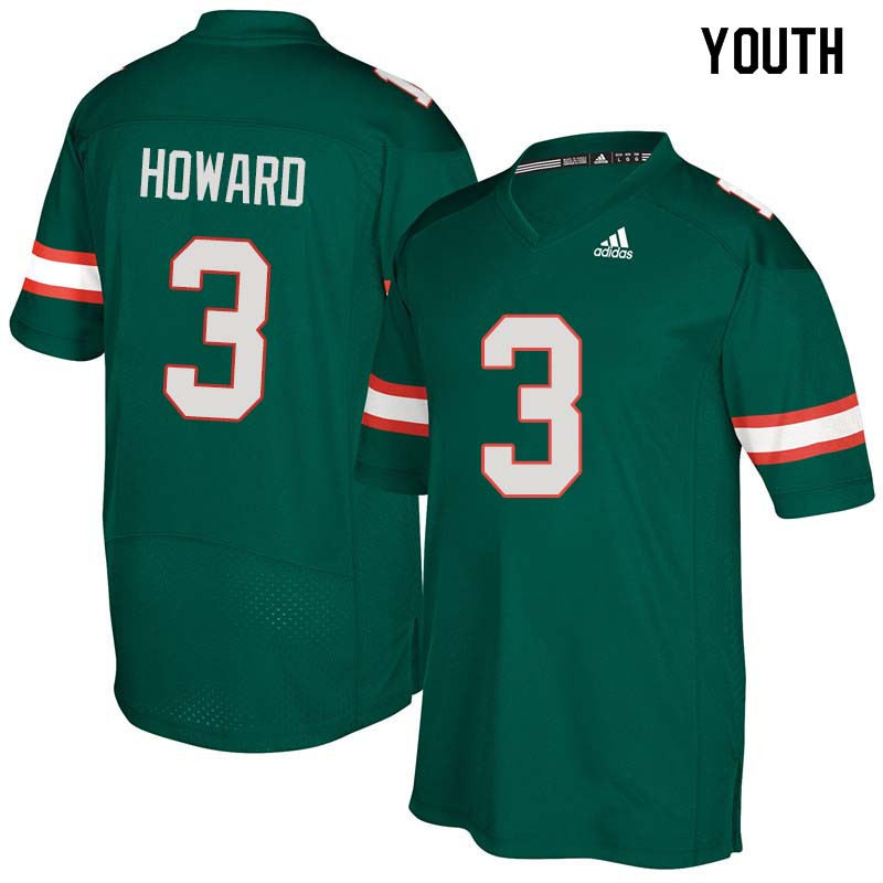 Youth Miami Hurricanes #3 Tracy Howard College Football Jerseys Sale-Green