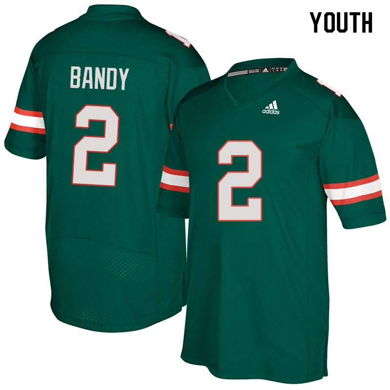 Youth Miami Hurricanes #2 Trajan Bandy College Football Jerseys Sale-Green