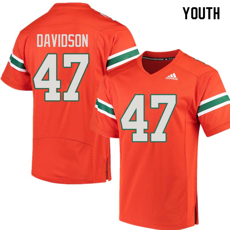 Youth Miami Hurricanes #47 Turner Davidson College Football Jerseys Sale-Orange