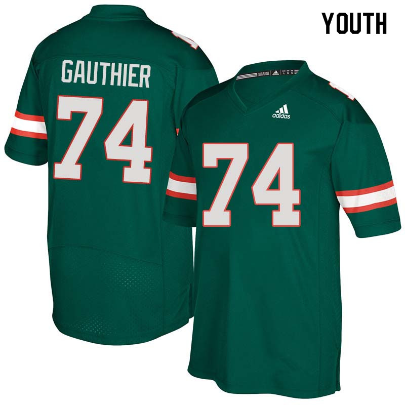 Youth Miami Hurricanes #74 Tyler Gauthier College Football Jerseys Sale-Green