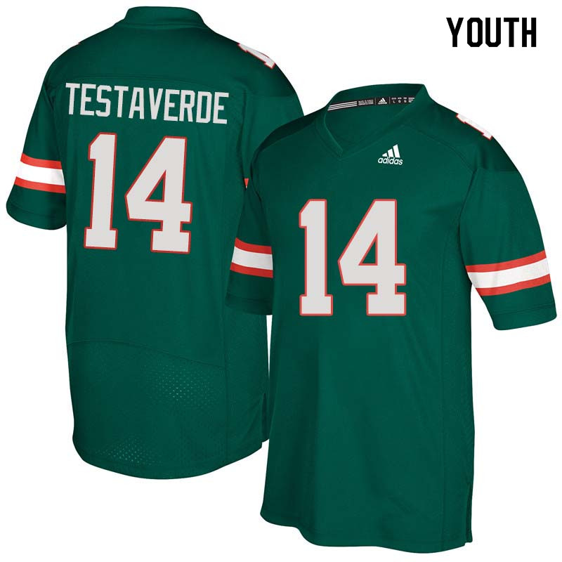 Youth Miami Hurricanes #14 Vinny Testaverde College Football Jerseys Sale-Green