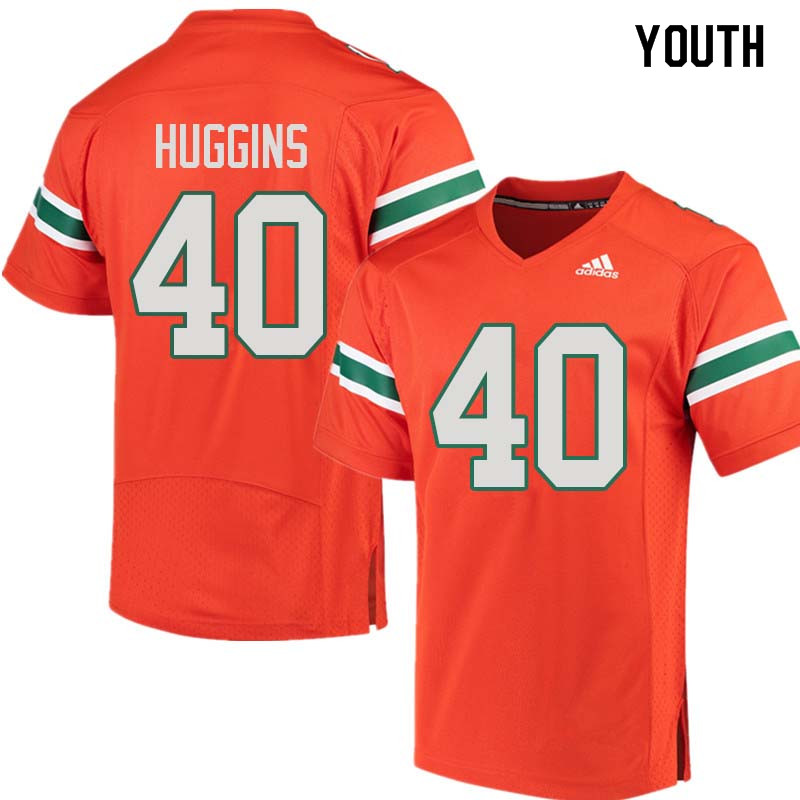 Youth Miami Hurricanes #40 Will Huggins College Football Jerseys Sale-Orange