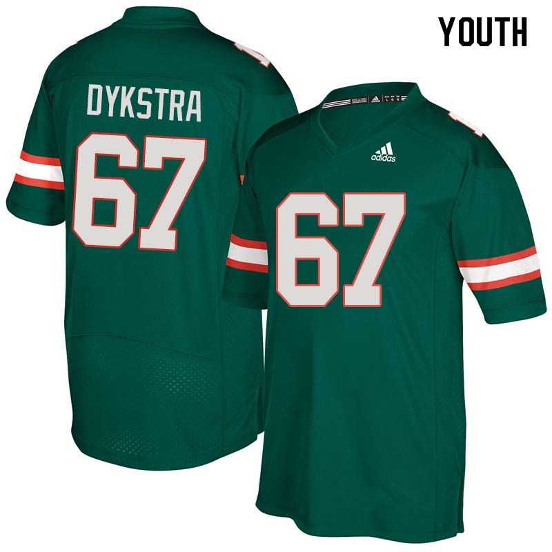 Youth Miami Hurricanes #67 Zach Dykstra College Football Jerseys Sale-Green