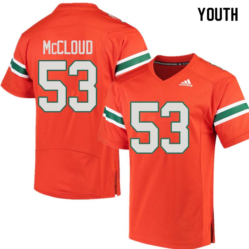 Youth Miami Hurricanes #53 Zach McCloud College Football Jerseys Sale-Orange