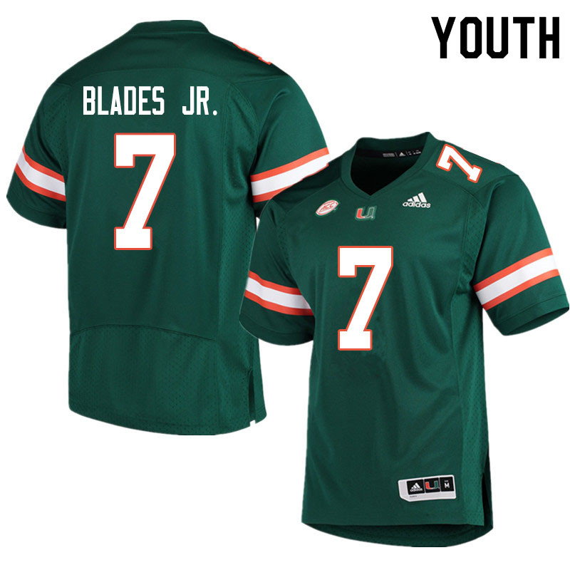 Youth #7 Al Blades Jr. Miami Hurricanes College Football Jerseys Sale-Green