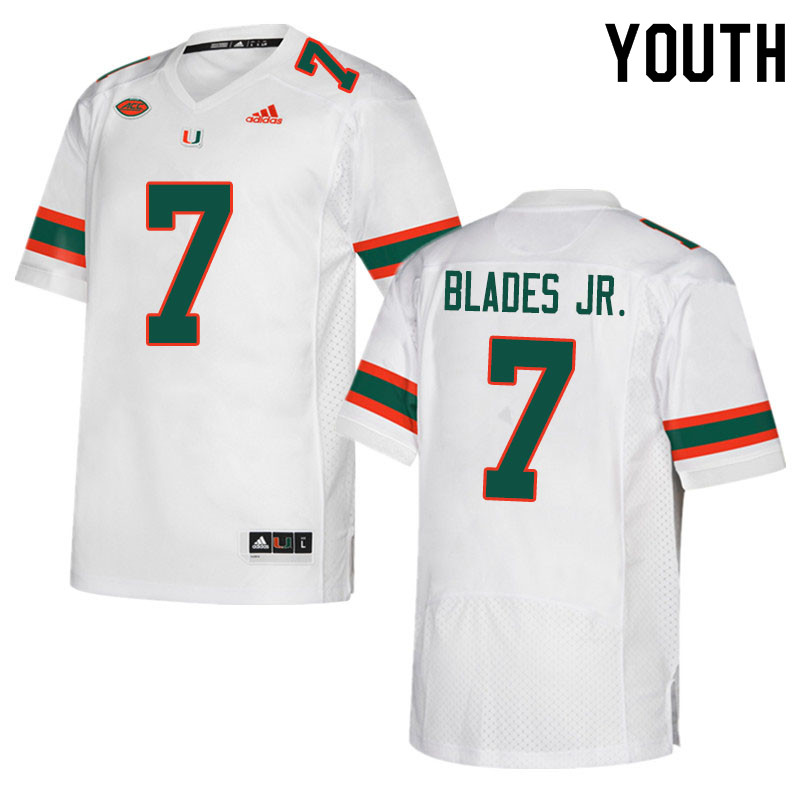 Youth #7 Al Blades Jr. Miami Hurricanes College Football Jerseys Sale-White
