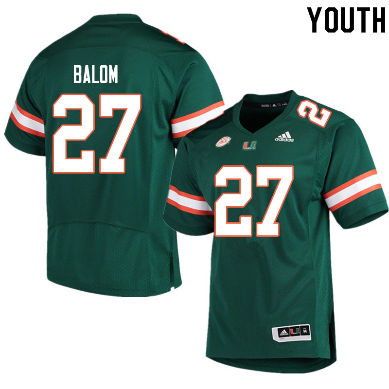 Youth #27 Brian Balom Miami Hurricanes College Football Jerseys Sale-Green