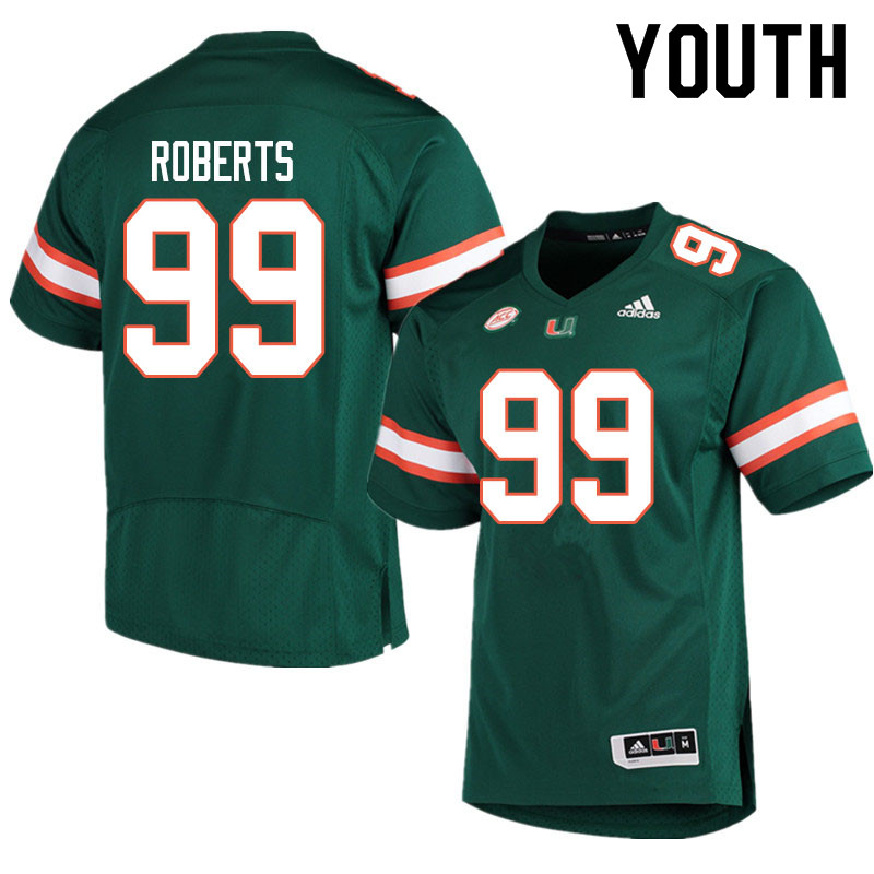 Youth #99 Elijah Roberts Miami Hurricanes College Football Jerseys Sale-Green