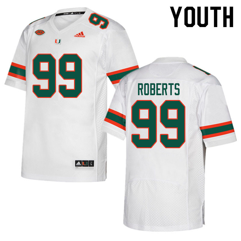 Youth #99 Elijah Roberts Miami Hurricanes College Football Jerseys Sale-White
