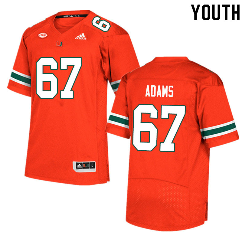 Youth #67 Gavin Adams Miami Hurricanes College Football Jerseys Sale-Orange