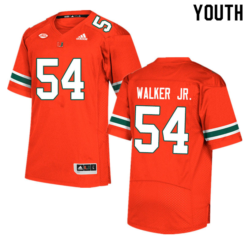 Youth #54 Issiah Walker Jr. Miami Hurricanes College Football Jerseys Sale-Orange