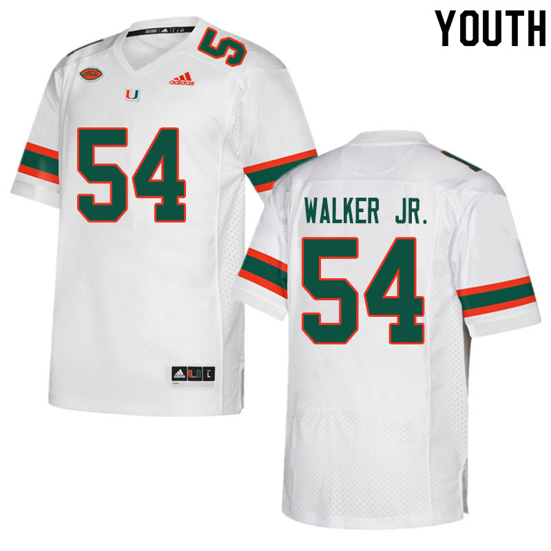 Youth #54 Issiah Walker Jr. Miami Hurricanes College Football Jerseys Sale-White