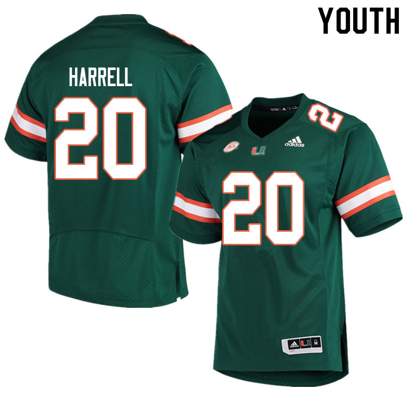 Youth #20 Jalen Harrell Miami Hurricanes College Football Jerseys Sale-Green