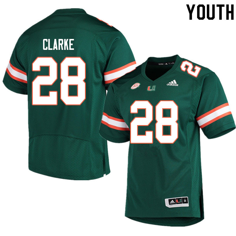 Youth #28 Marcus Clarke Miami Hurricanes College Football Jerseys Sale-Green
