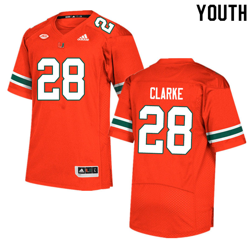 Youth #28 Marcus Clarke Miami Hurricanes College Football Jerseys Sale-Orange