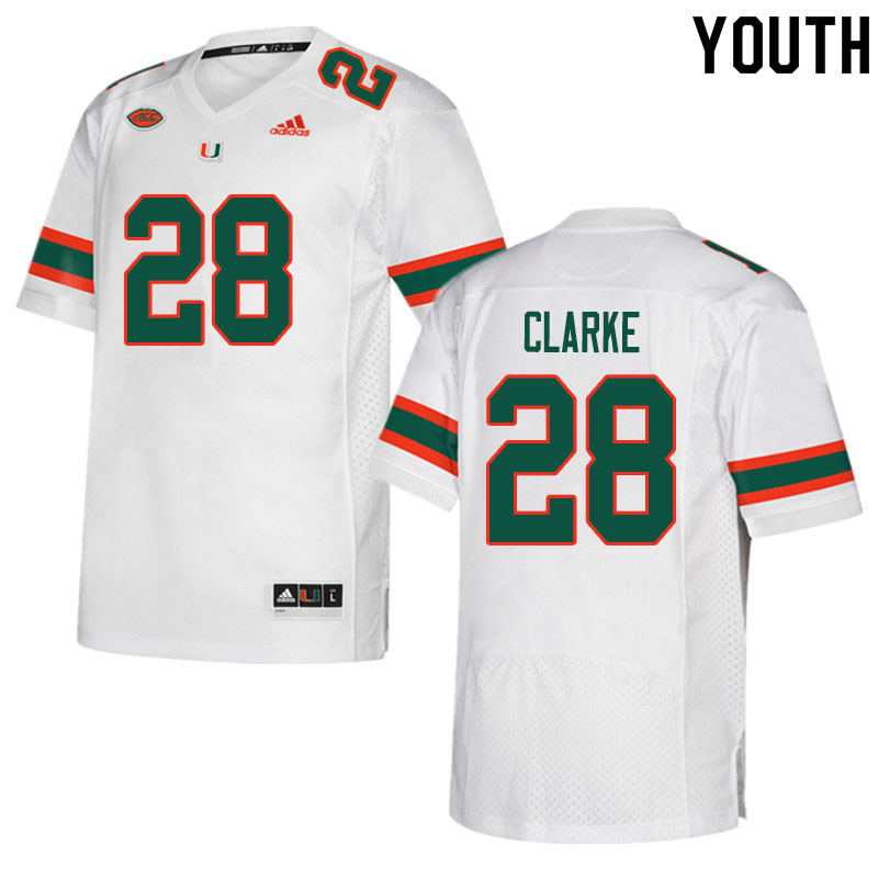Youth #28 Marcus Clarke Miami Hurricanes College Football Jerseys Sale-White