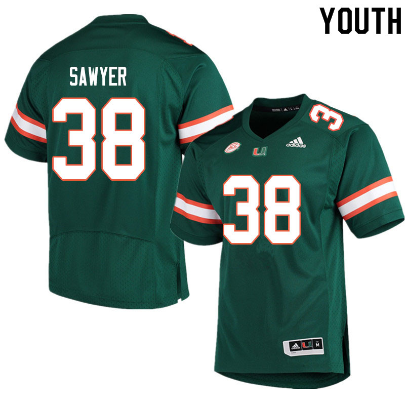 Youth #38 Shane Sawyer Miami Hurricanes College Football Jerseys Sale-Green